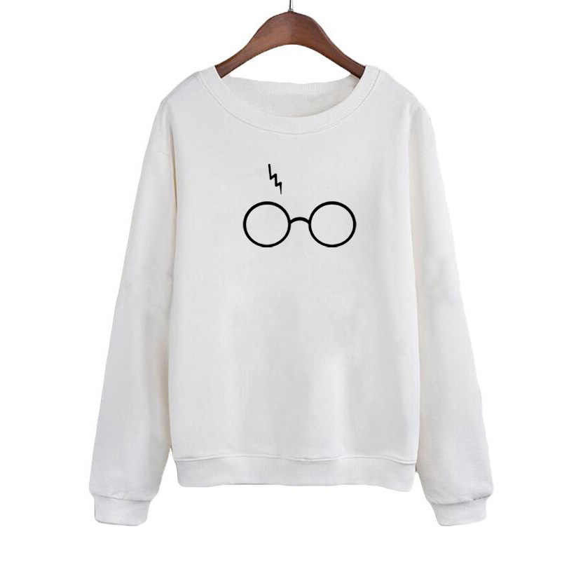 Tumblr Geek Harajuku Bookworm Printing Crenweck Sweatshirt Hoodies Women Autumn Winter Hoodies Black White Fleece Tops