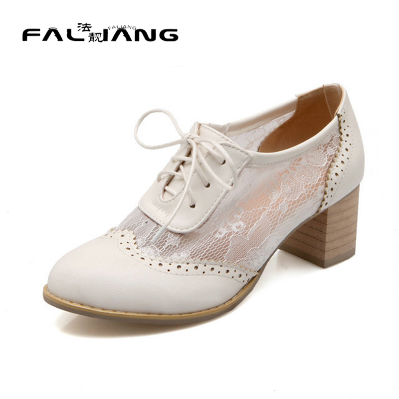 ФОТО 2017 New sweet ladies spring and autumn Bud silk lace up square heel shoes comfortable work shoes woman large size 34-43