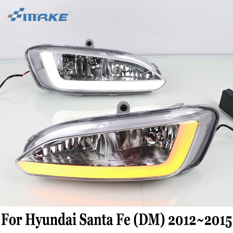 цена на SMRKE DRL For Hyundai Santa Fe DM 2012~2015 / Car Daytime Running Lights With Fog Lamp Frame Two colors Light guide Car Styling