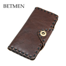 BETMEN Luxury Vintage Men Wallets Long Genuine Leather Wallet Hasp Purse