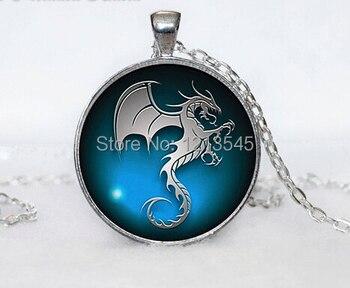 Дракон стекла кулон ожерелья Фэнтези синий дракон стекло ювелирные Подарки Ювелирных Изделий Кулон Искусство Подарки для женщин мужчины подарок CN-528