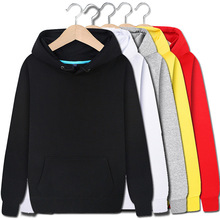 купить b Autumn and winter cotton solid color sweatshirt jacket men and women plus velvet hooded casual jacket plus size 3XL онлайн