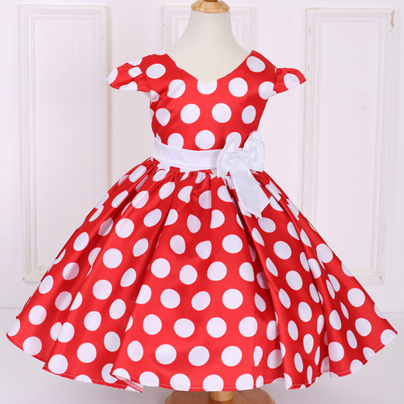 Retail Big DOT Pattern V-Neck Princess Baby   Dress   With Bow Party   Dresses   For Toddler Infant L616