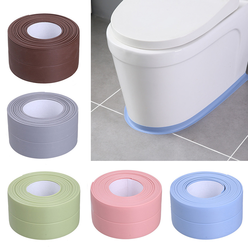 2 Size Bathroom Shower Sink Bath Sealing Strip Tape White PVC Self Adhesive Waterproof Wall Sticker For Bathroom Kitchen 6 Color