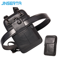 JINSERTA Genuine Leather Waist Bag Men Leather Belt Waist Pack Small Bags Phone Pouch Crossbody Case