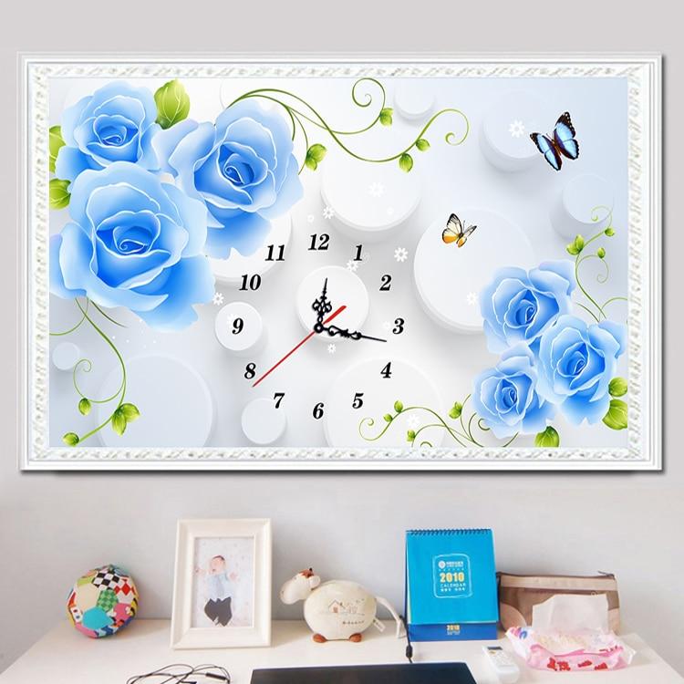 5D DIY Blue Roses Clock Diamant Schilderij Kruissteek Volledige Boor - Kunsten, ambachten en naaien