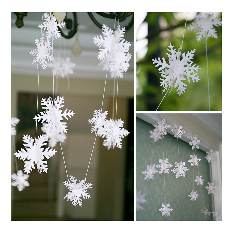 3m beige 3d snowflake pendant garland brace christmas for New home christmas decoration
