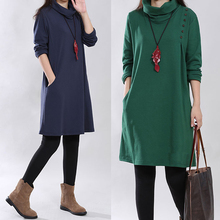 3 Color New High Neck Soft Knitted Cotton Maternity Dress Autumn & Winter Clothes For Pregnant Women Pregnancy Clothing l-xxl