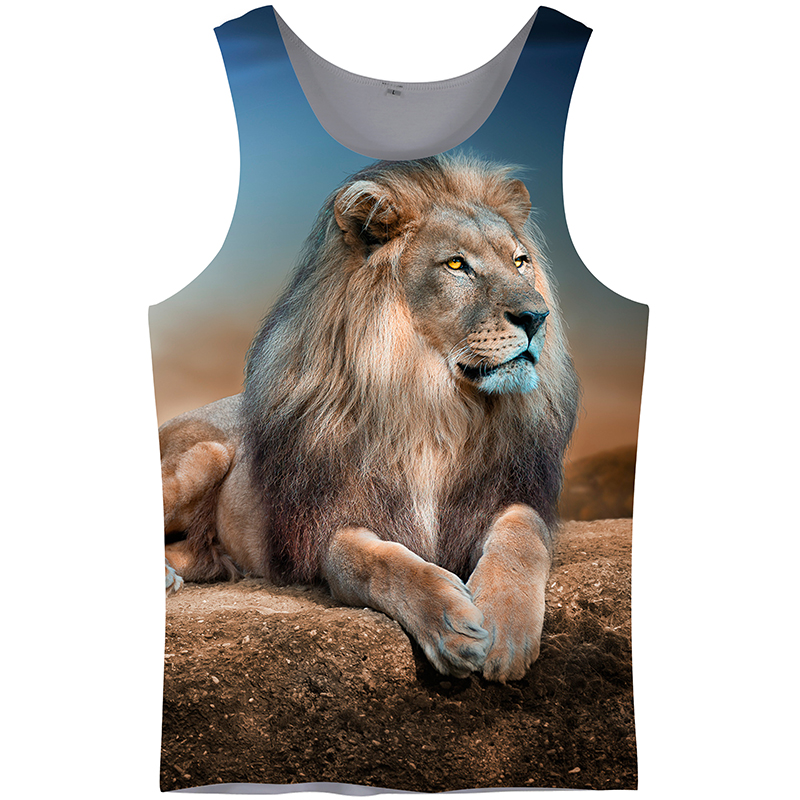 Cloudstyle 3D   Tank     Tops   Men Vest 3D Print Lion Sleeveless Active Bodybuilding Summer Fashion Casual Vacation   Tops   Streetwear