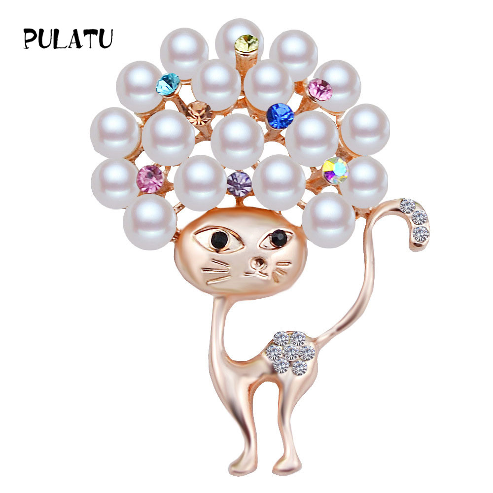 PULATU Cute Cat Brooches for Women Animal Design Men and Kids Suit Jewelry Brooch Pins Alloy Metal Mosaic Pearl