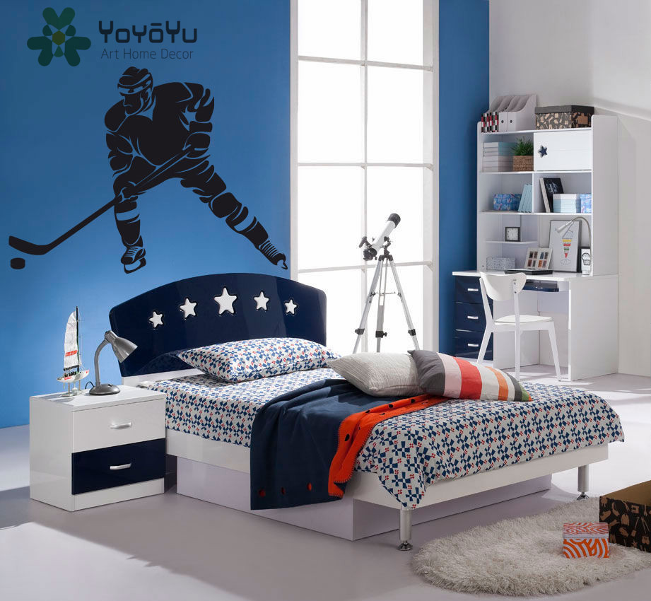 YOYOYU Wall Decal Bedroom hockey player Ice Hockey Sports Vinyl Wallpaper Sticker Removeble Home Decor ZX041 in Wall Stickers from Home Garden