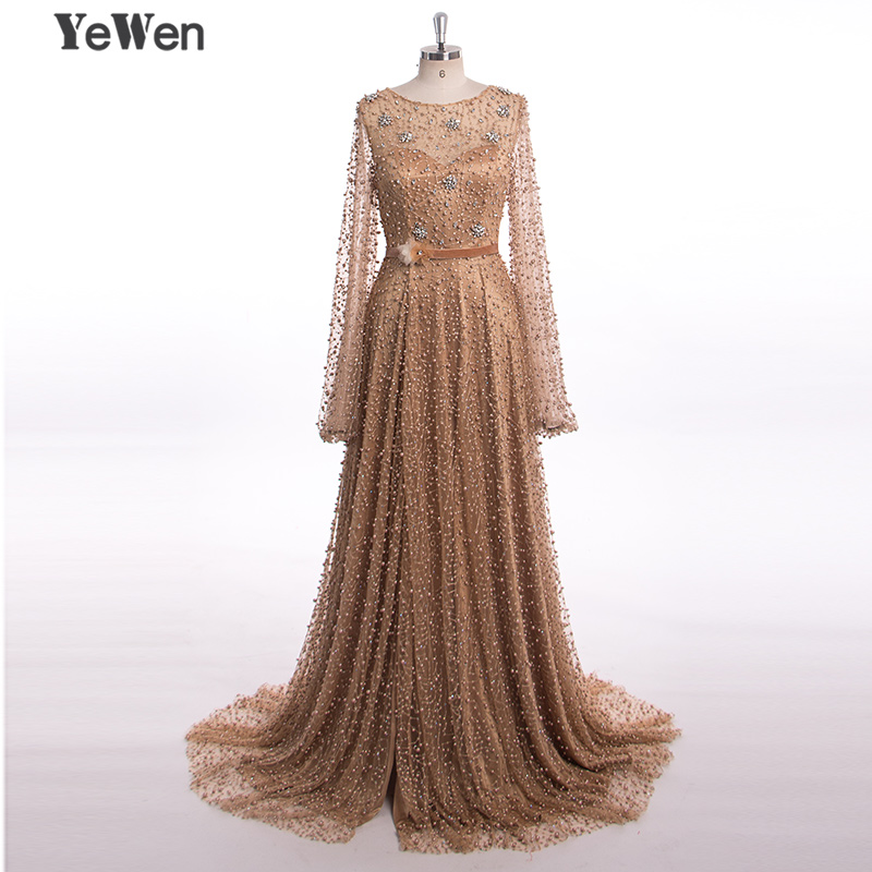 Luxury Diamond Pearls Sparkle Muslim Long Sleeves Crystal Formal   Evening     Dresses   2019 Coffee Women Elegant Party Gown   Dress