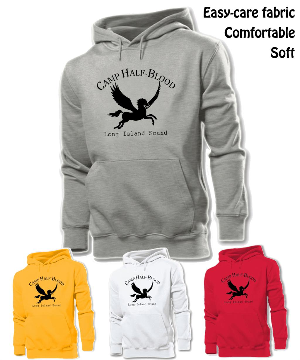 NEW Camp Half Blood Long Island Sound Greek Gods Graphic Hoodie Men's Boy's Women's Girl's Sweatshirt Tops White Red Yellow Grey image