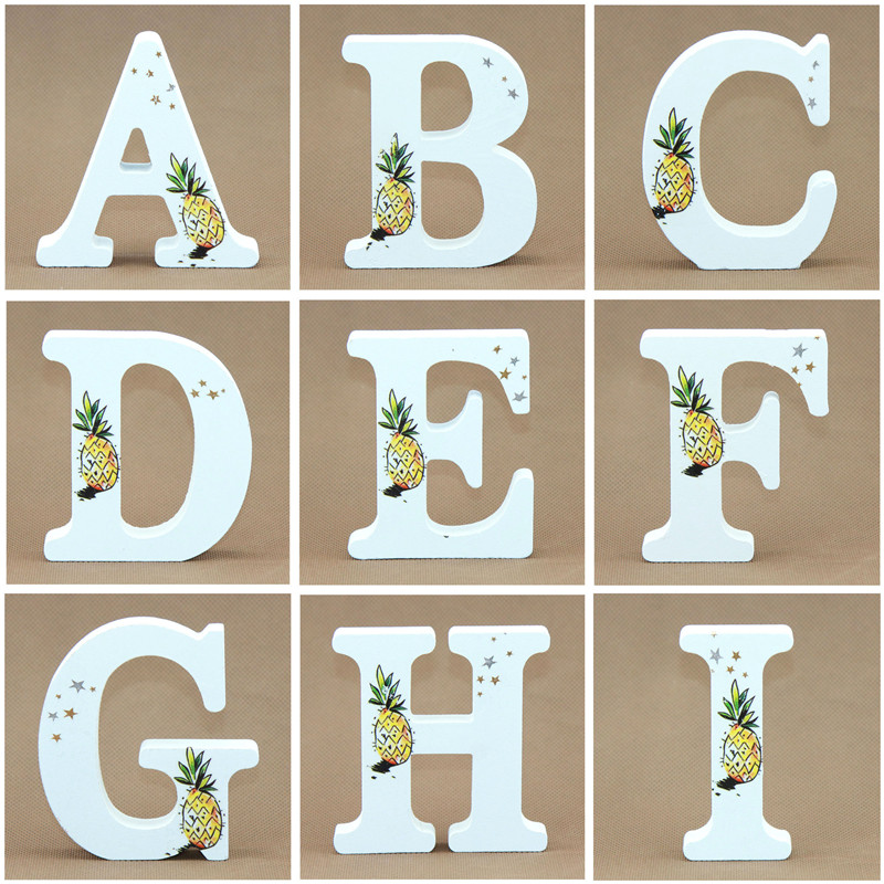 1pcs 10X10CM White Wooden Letters English Alphabet Word Stat Name Design Pineapple Craft Free Party Wedding Wood Letters DIY