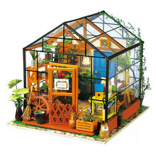 Robotime 15 rodzajów DIY dom z meblami dzieci dorosły miniaturowy drewniany domek dla lalek zestaw klocków domek dla lalek prezent