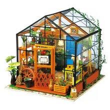 Robotime 15 أنواع لتقوم بها بنفسك منزل مع الأثاث الأطفال الكبار مصغرة بيت دمية خشبية نموذج بناء مجموعات دمية لعبة هدية