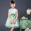 Girls fashion dresses summer children's clothes baby girls princess solid dress kids sleeveless dress girl ball gown costumes