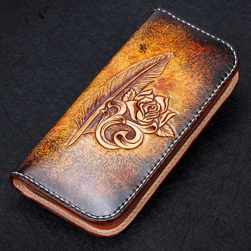 2017 Genuine Leather Wallets Carving Feather Rose Bag Purses Women Long Clutch Vegetable Tanned Leather Wallet Mothers Day gift genuine leather wallets carving lotus bag purses women long clutch vegetable tanned leather wallet mother s day gift