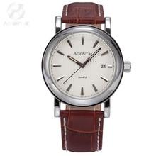 AGENTX Steel Case White Dial Reloje Auto Date Display Quartz Analog Brown Genuine Leather Band Men Casual  Wrist Watch / AGX021