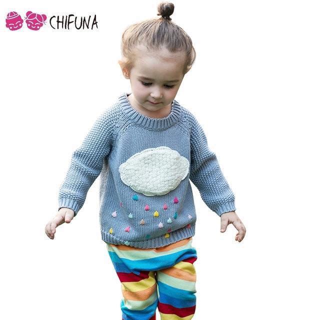 Chifuna Nuevo 2017 Suéter Del Bebé Nube Patrón Trajes Para Niños Infantil Chicos Chicas Primavera Muchachas de Los Niños Suéteres de Punto Jerseys