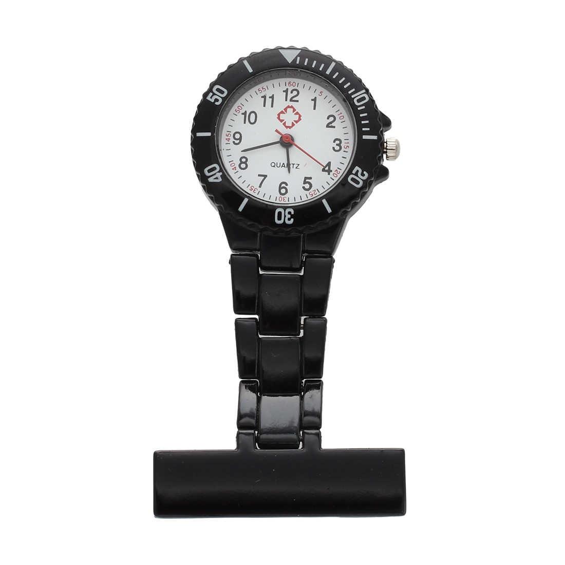 Черный кварцевый механизм медсестры брошь Fob туника карманные металлические часы