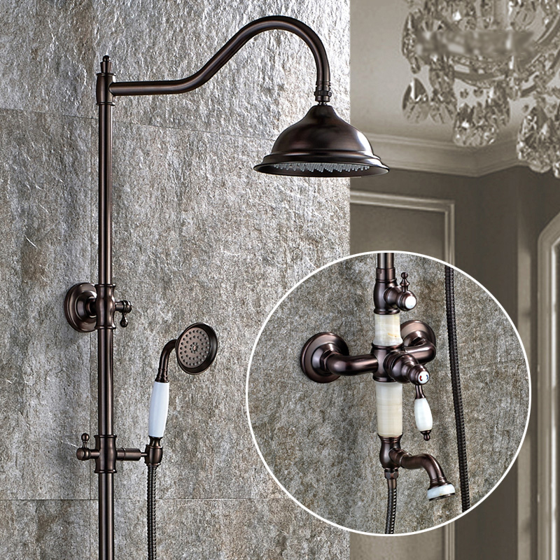 Classic Jade Bath Shower Faucets Wall Mounted Single Handle Rainfall Shower Mixer With Slide Bar Hand Shower Oil Rubbed Bronze oil rubbed bronze white handle tub shower faucets with hanged shower head wall mounted bathroom bathtub shower faucets yn 420