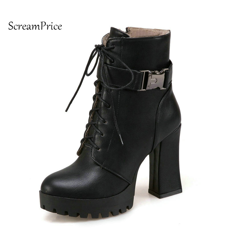 Woman Platform Square High Heel Lace Up Ankle Boots Fashion Buckle Dress Boots Winter Short Plush Boots Black Gray Brown цены онлайн