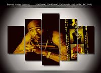 5 Pieces Hip Hop Artist Tupac Amaru Shakur 2Pac Modern Home Wall Decor Canvas Picture Art