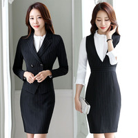 Striped Work Clothes Two Piece Set Women S Autumn New Ladies Slim OL Office Uniform Style