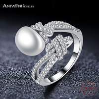 ANFASNI High Quality Pearl 925 Sterling Silver Rings For Women Fashion Elegant Zirconia Wedding Engagement Jewelry