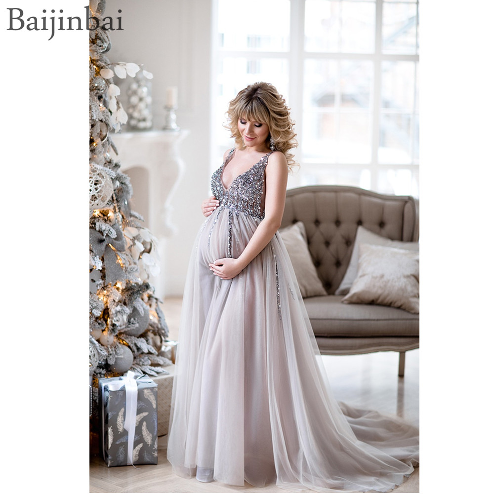 Baijinbai Sequin Maternity Prom Dresses Baby Shower Gowns with Tulle Skirt A-line Sleeveless V-neck Tulle Evening Party Gowns