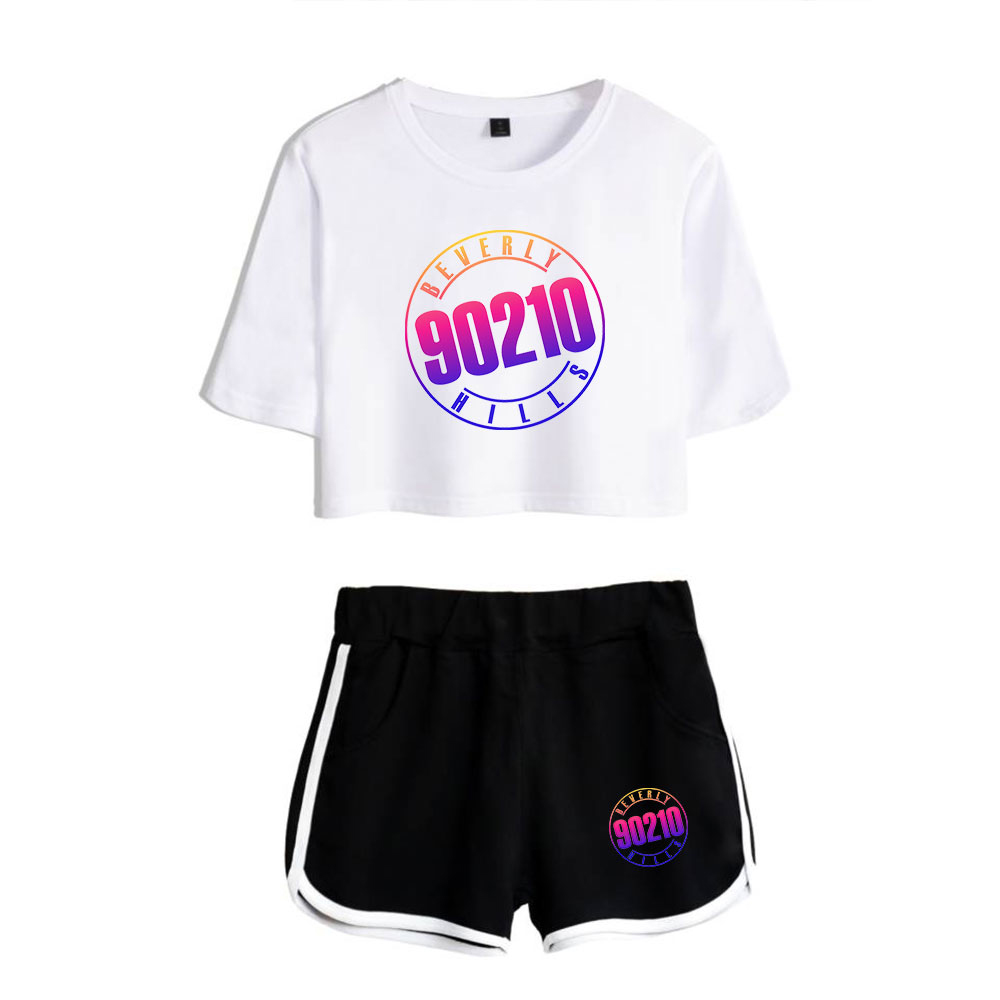 New Fashhion Beverly Hills 90210 Luke Perry Short White Exposed Navel T Shirt+ Black Short Pants Popular Women's Two-piece Sets
