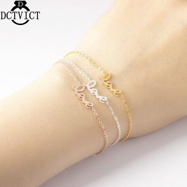 Rose Gold Letter Bracelets For Women Love Jewelry Simple Love Shape Bracelet Femme Valentine's Day Girlfriend Christmas Gifts