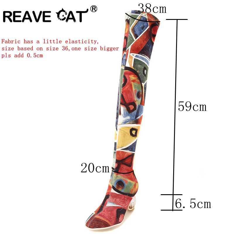 REAVE kedi kadın sonbahar bahar uyluk yüksek çizmeler ayak bileği şeffaf şeffaf topuklu streç renkli diz Botas Bottine Femme