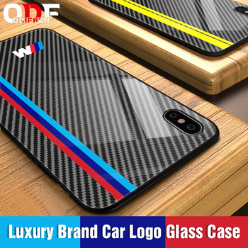 Luxury Motorsport AMG Carbon Fiber Phone Case For iphone X 6 S 6S 7 8 RACING SPORT RS Tempered Glass Racing Car BMW Cover Coque oneplus bmw case