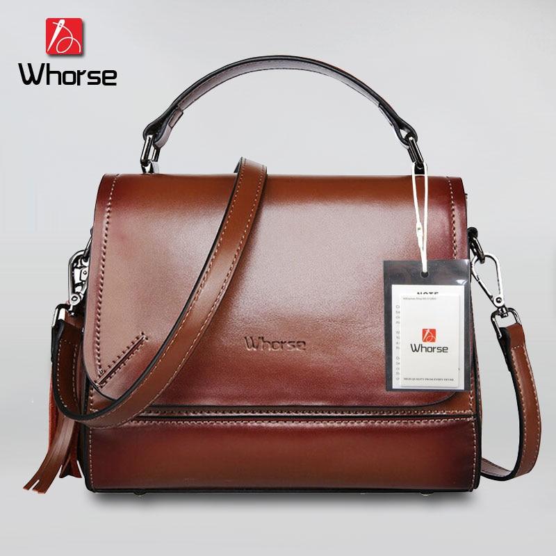 ФОТО [WHORSE] Luxury Designer Handbags High Quality Famous Brand Tassel Women Handbag Genuine Leather Hand Bag Tote Messenger Bags