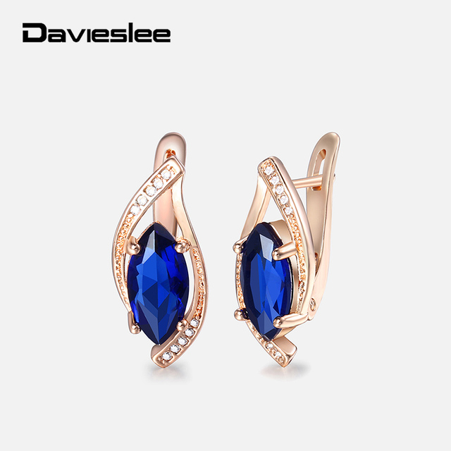 0241fddbb Davieslee Blue Stone Stud Earrings For Women 585 Rose Gold Filled Womens  Earring Leaf Shaped Round Wholesale Jewelry Gift LGE136