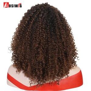 Image 4 - Krótki Afro perwersyjne peruki syntetyczne z kręconymi włosami dla czarnych kobiet Ombre brązowy naturalne Afro kręcone peruki z grzywką na imprezę Cosplay peruki AOSIWIG