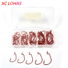 50 Pcs/box Fishing Hooks Red Grey Crank Hook Lure Soft Bait Texas Rig Fishhook Size 1#-3# High Carbon Steel+ Plastic Tackle Box