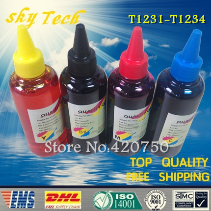 Dye refill ink Suit for Epson T1231-T1234 Cartridges ,suit for Epson  STYLUS ME office 80W / 700FW etc dye refill ink suit for epson t5846 cartridges suit for epson pm280 pm200 pm240 pm290 pm225 specialized ink