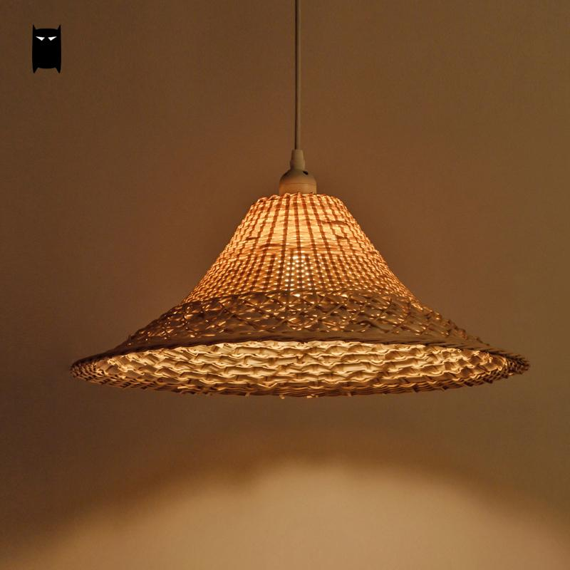 Wicker Rattan Straw Hat Shade Pendant Light Fixture