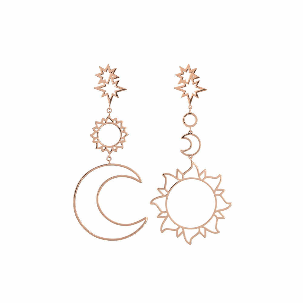 Indah Wanita Anting-Anting Bohemia Sun Star Moon Berongga Anting-Anting Metal Alloy Vintage Geometris Anting-Anting Baik Dropship