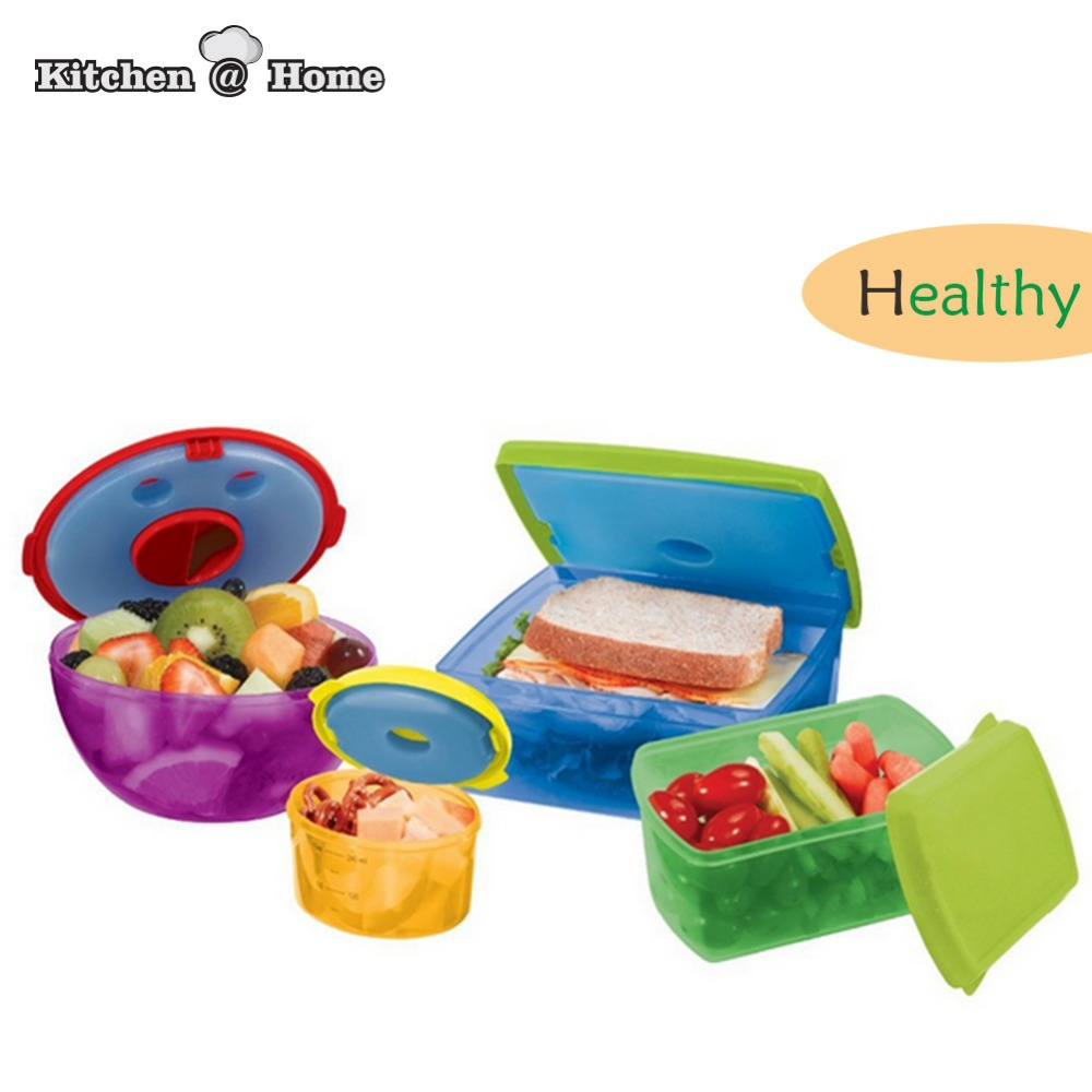 4 pcs set colorful salad snack food bento box container kit with removable ice pack refrigerator. Black Bedroom Furniture Sets. Home Design Ideas