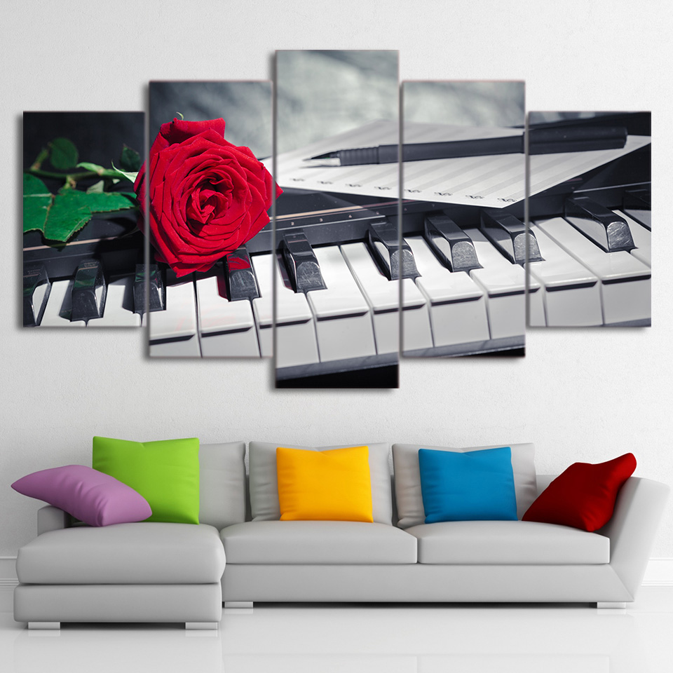 Canvas Paintings Home Decor 5 Pieces Roaring Piano Keys Poster HD Printed Rose Music Compose Pictures Living Room Wall Art Frame in Painting Calligraphy from Home Garden