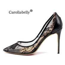 2018 New Genuine Leather Woman Mesh lace High Heels Women Pumps Pointed Toe Wedding Party Stilettos Shoes Big Size 34-46