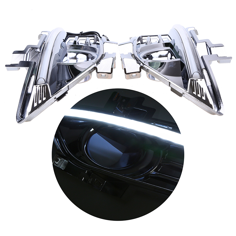 POSSBAY Chrome 1Pair LED DRL Daytime Running Light Lamp for Ford Mondeo Fusion 2013-2016 Car Auto Driving External Lights