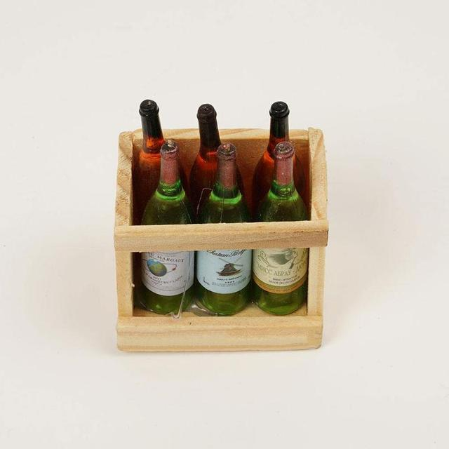 1:12 Mini 6 Wine Bottles With Wooden Frame For Doll House
