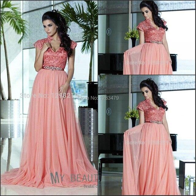 Elegant Lace Coral Color Evening Dresses Short Sleeve V Neck Cap ...