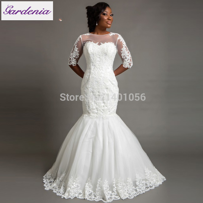 Court Train Pearl White Bridal Dresses Half Illusion Sleeve Sheer Lace Appliqued Nigeria Off