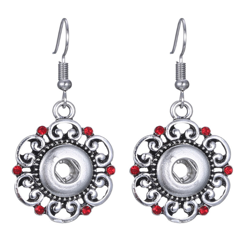 Hot sale Red Flower Fashion Beauty Charm Snap Earrings Fit 12mm Snap Buttons DIY Earrings Wholesale image